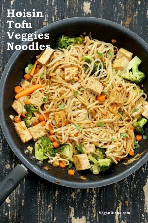 Tofu and Brown Rice Noodles in Hoisin Sauce